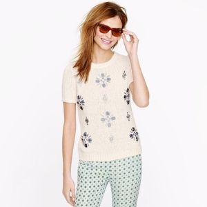J. Crew jeweled medallion embellished short sleeve knit sweater top small